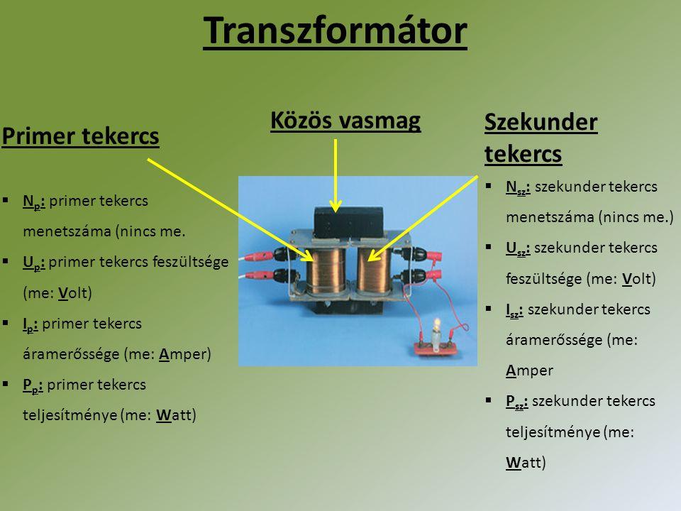 Transzformátor Közös vasmag Szekunder tekercs Primer tekercs