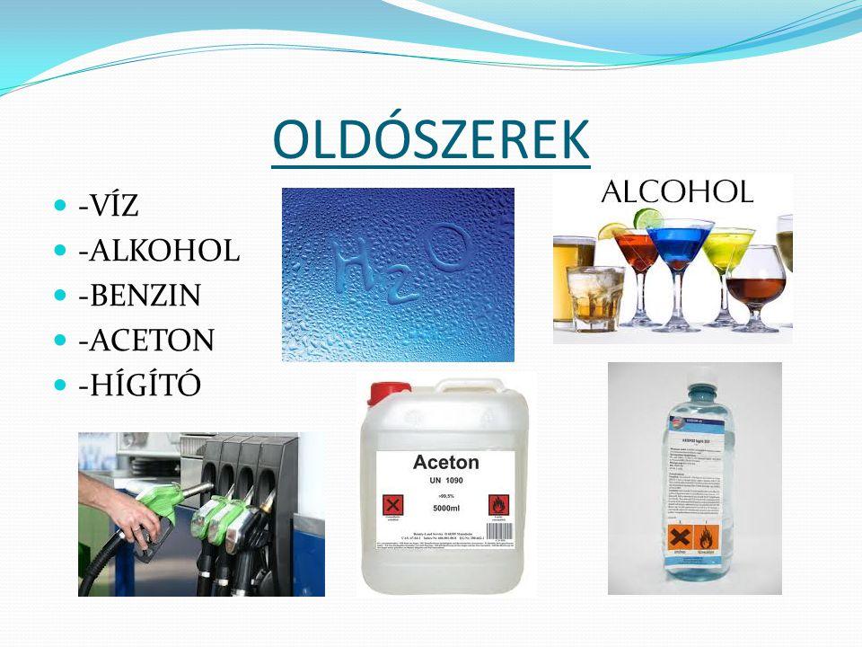 OLDÓSZEREK -VÍZ -ALKOHOL -BENZIN -ACETON -HÍGÍTÓ
