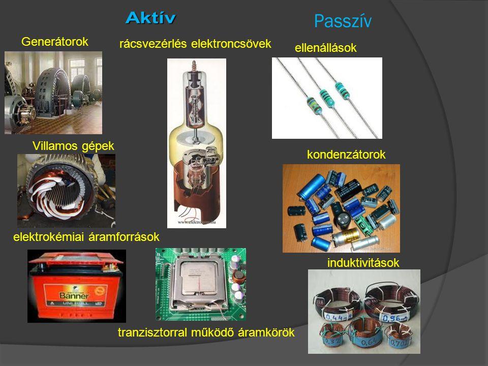 Generátorok rácsvezérlés elektroncsövek. ellenállások. Villamos gépek. kondenzátorok. elektrokémiai áramforrások.