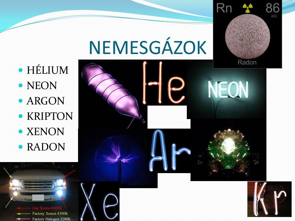 NEMESGÁZOK HÉLIUM NEON ARGON KRIPTON XENON RADON