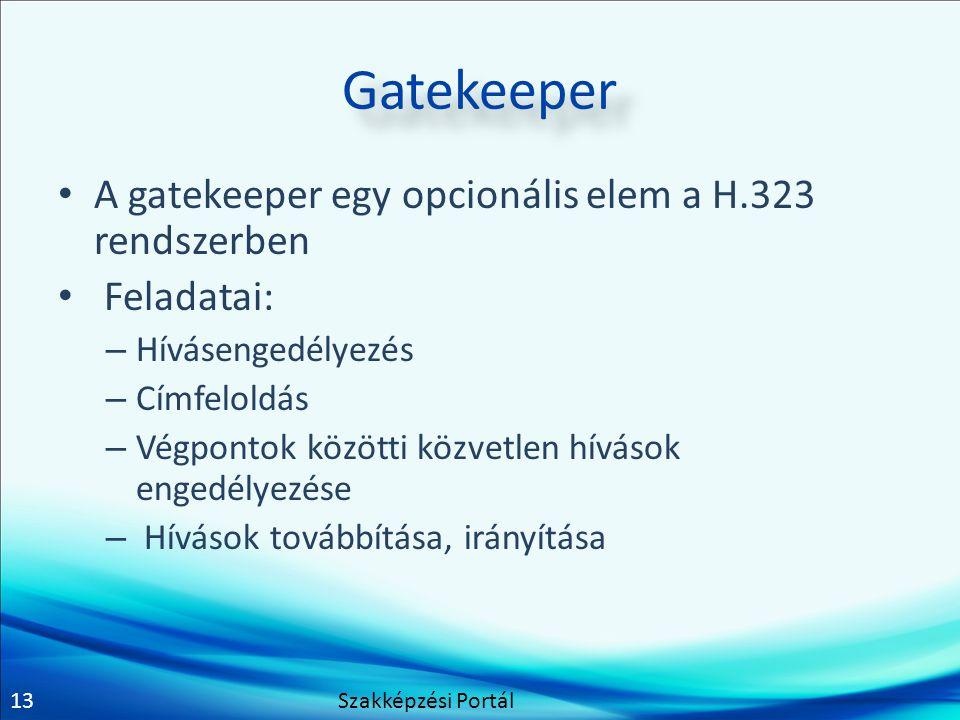 Gatekeeper A gatekeeper egy opcionális elem a H.323 rendszerben