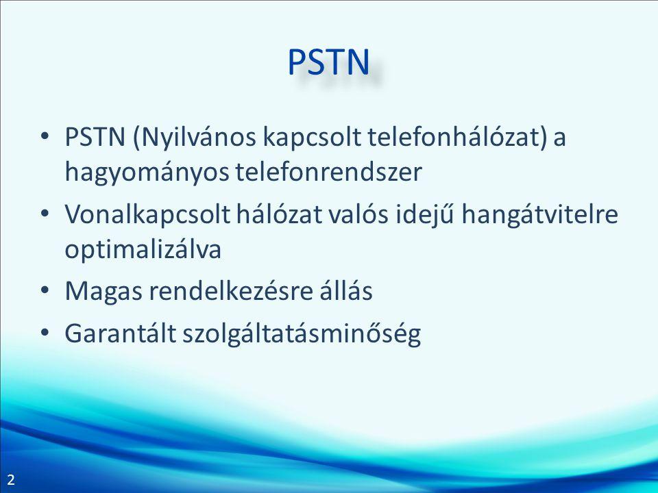 PSTN PSTN (Nyilvános kapcsolt telefonhálózat) a hagyományos telefonrendszer. Vonalkapcsolt hálózat valós idejű hangátvitelre optimalizálva.