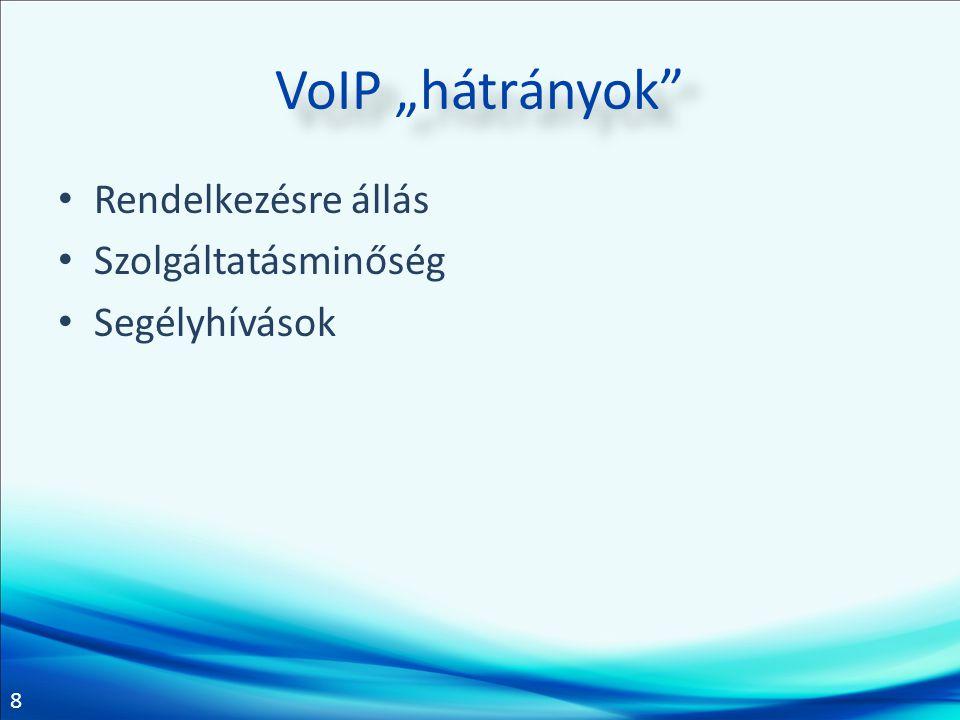 """VoIP """"hátrányok Rendelkezésre állás Szolgáltatásminőség Segélyhívások"""