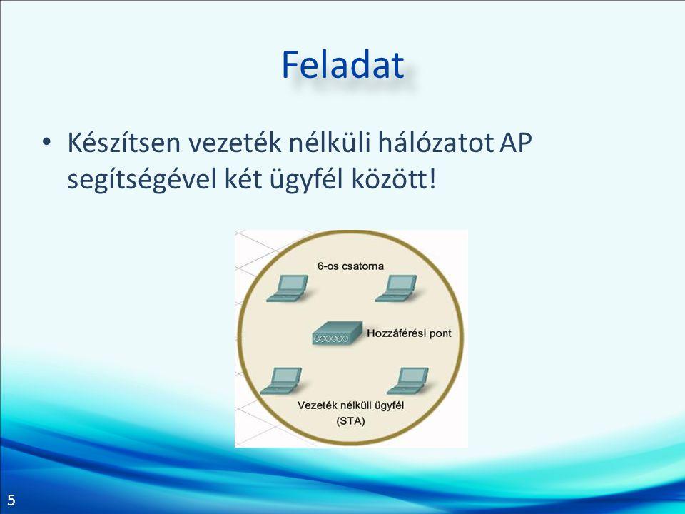 Feladat Készítsen vezeték nélküli hálózatot AP segítségével két ügyfél között!
