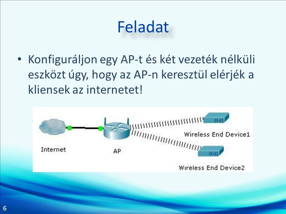 Feladat Konfiguráljon egy AP-t és két vezeték nélküli eszközt úgy, hogy az AP-n keresztül elérjék a kliensek az internetet!