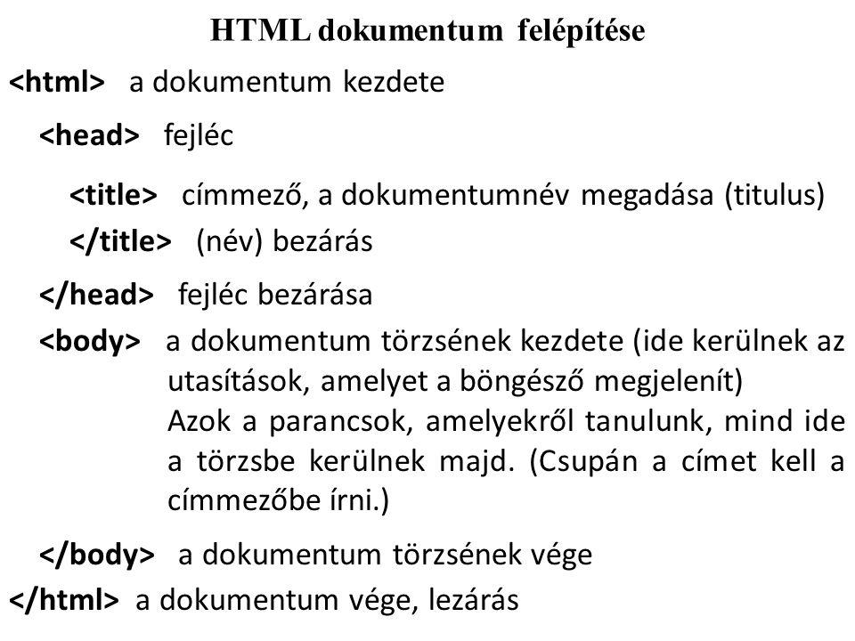 HTML dokumentum felépítése
