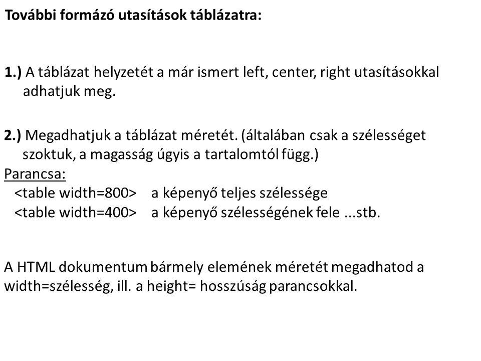 További formázó utasítások táblázatra: