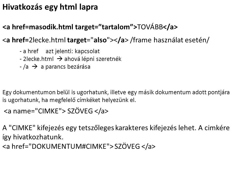 Hivatkozás egy html lapra