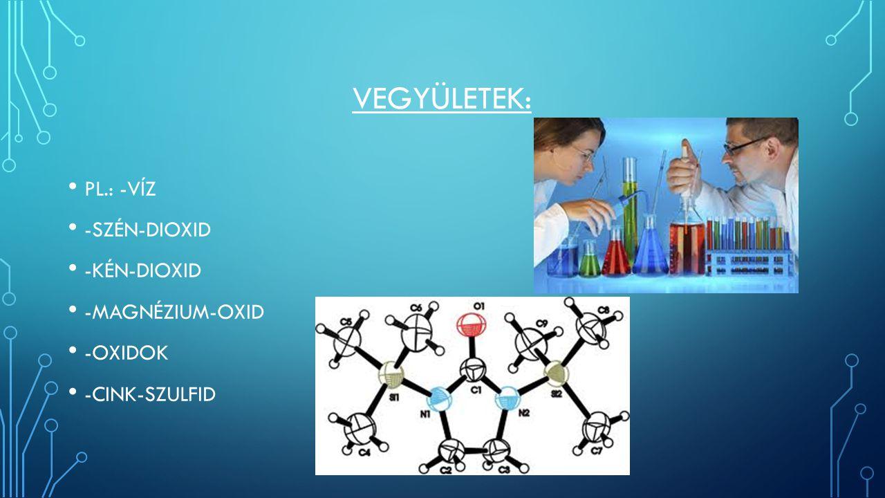 VEGYÜLETEK: PL.: -VÍZ -SZÉN-DIOXID -KÉN-DIOXID -MAGNÉZIUM-OXID -OXIDOK