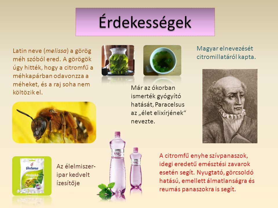 Érdekességek Magyar elnevezését citromillatáról kapta.