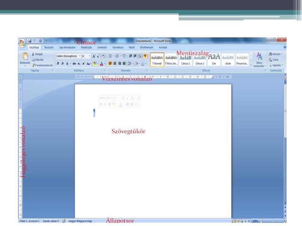 A word képernyője
