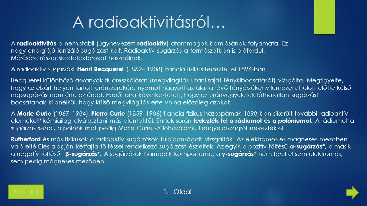 A radioaktivitásról… Főoldal Oldal