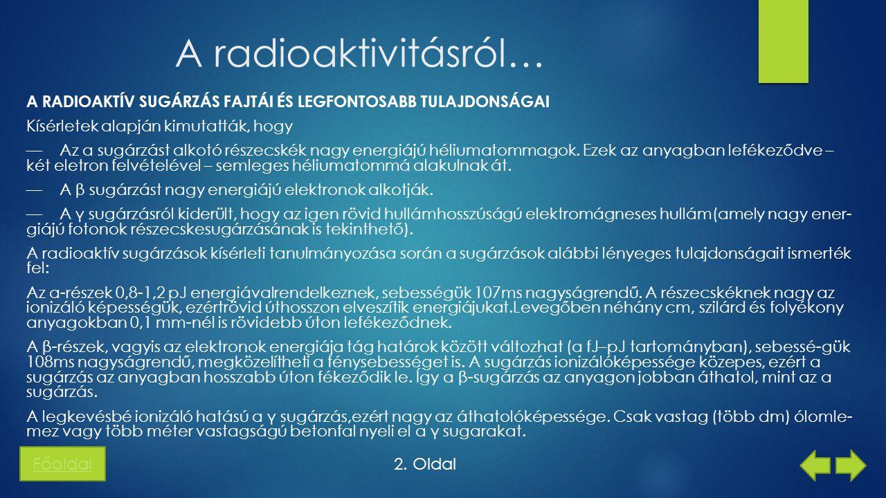 A radioaktivitásról… Főoldal 2. Oldal