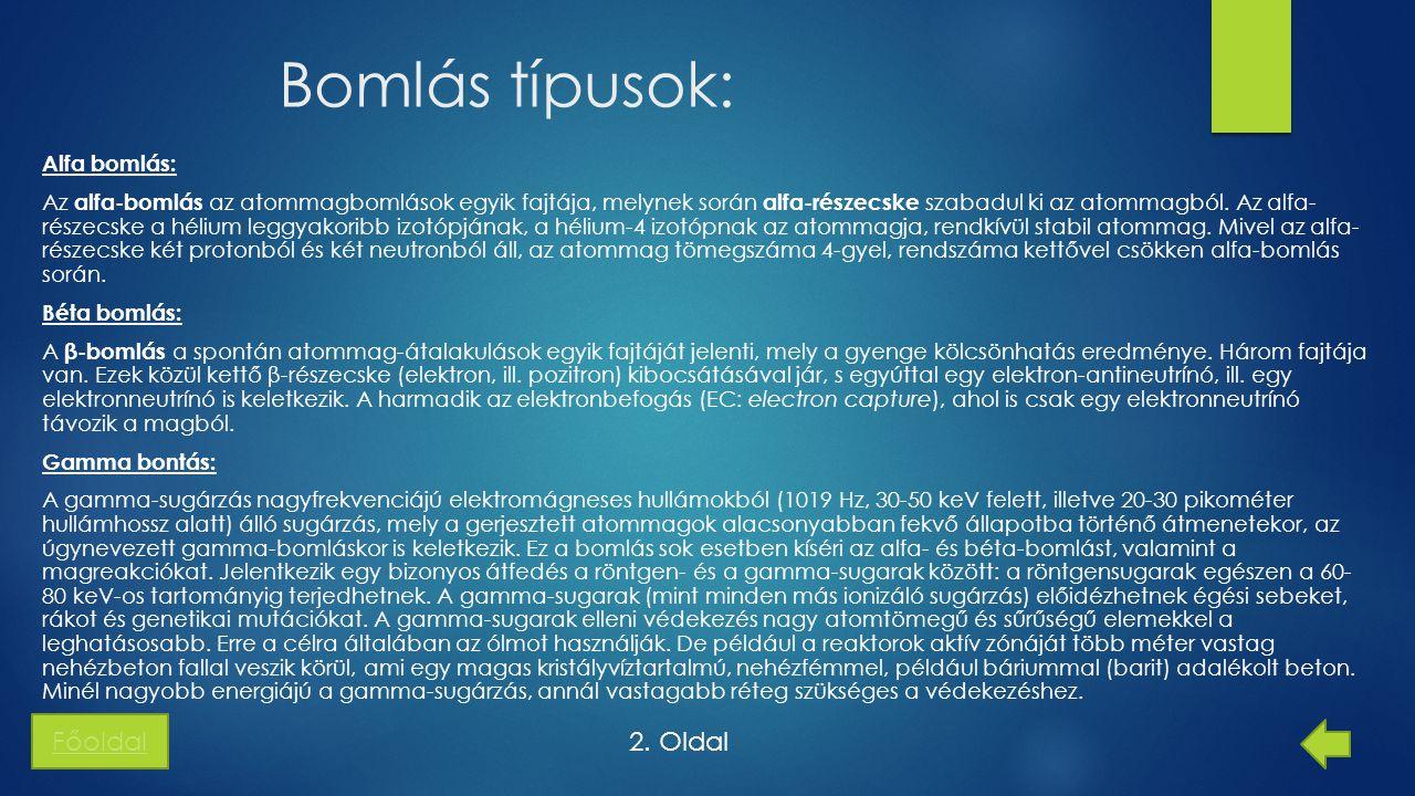 Bomlás típusok: Főoldal 2. Oldal
