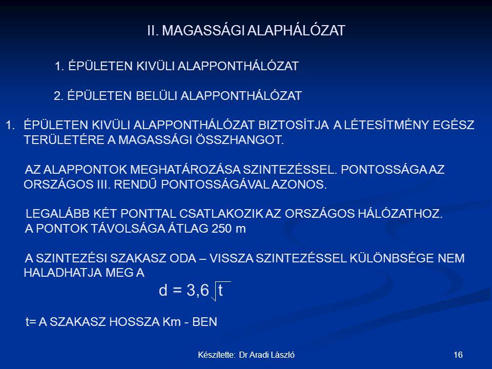 II. MAGASSÁGI ALAPHÁLÓZAT