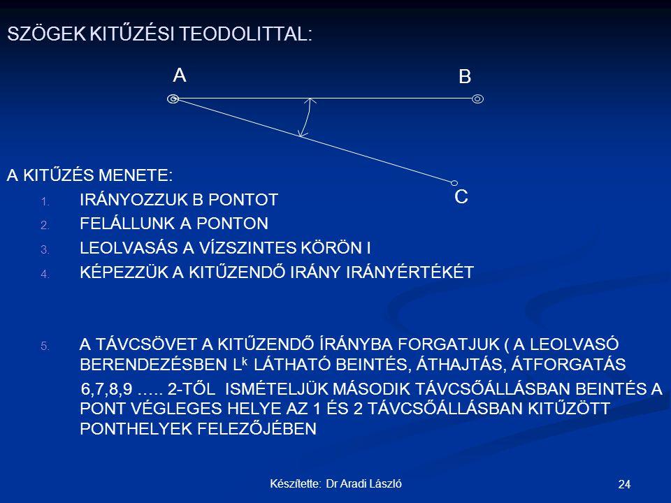 SZÖGEK KITŰZÉSI TEODOLITTAL: