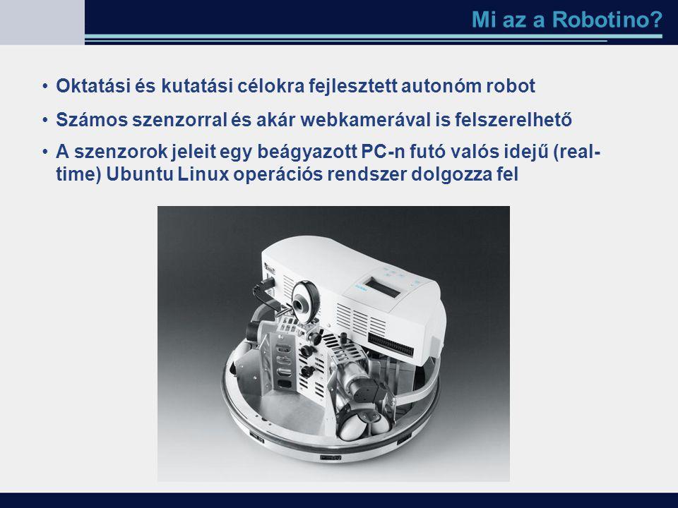 Mi az a Robotino Oktatási és kutatási célokra fejlesztett autonóm robot. Számos szenzorral és akár webkamerával is felszerelhető.