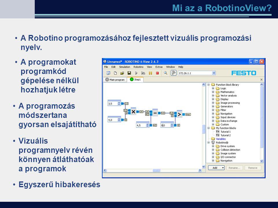 Mi az a RobotinoView A Robotino programozásához fejlesztett vizuális programozási nyelv. A programokat programkód gépelése nélkül hozhatjuk létre.