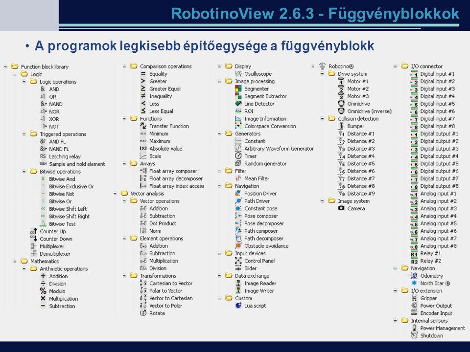 RobotinoView 2.6.3 - Függvényblokkok