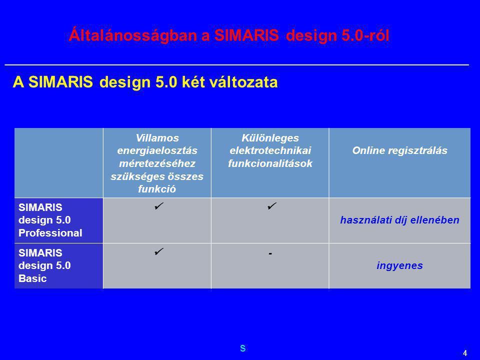 Általánosságban a SIMARIS design 5.0-ról