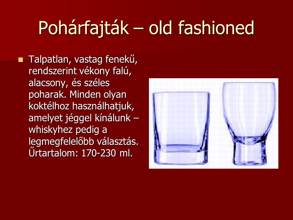 Pohárfajták – old fashioned