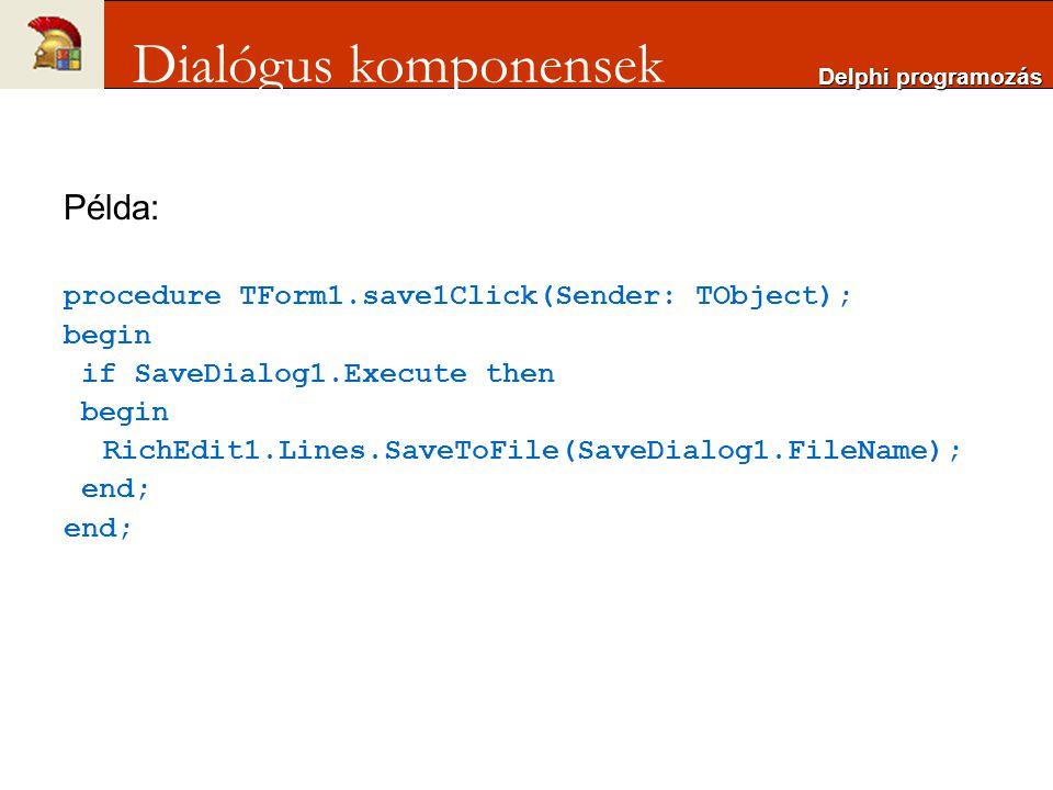 Dialógus komponensek Példa: