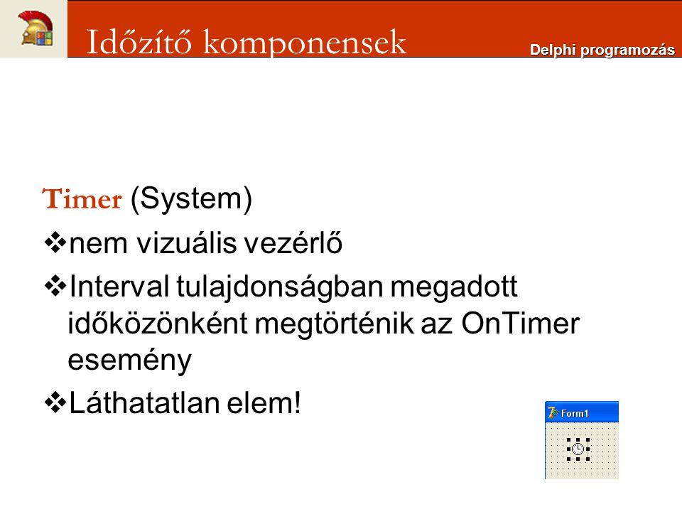 Időzítő komponensek Timer (System) nem vizuális vezérlő