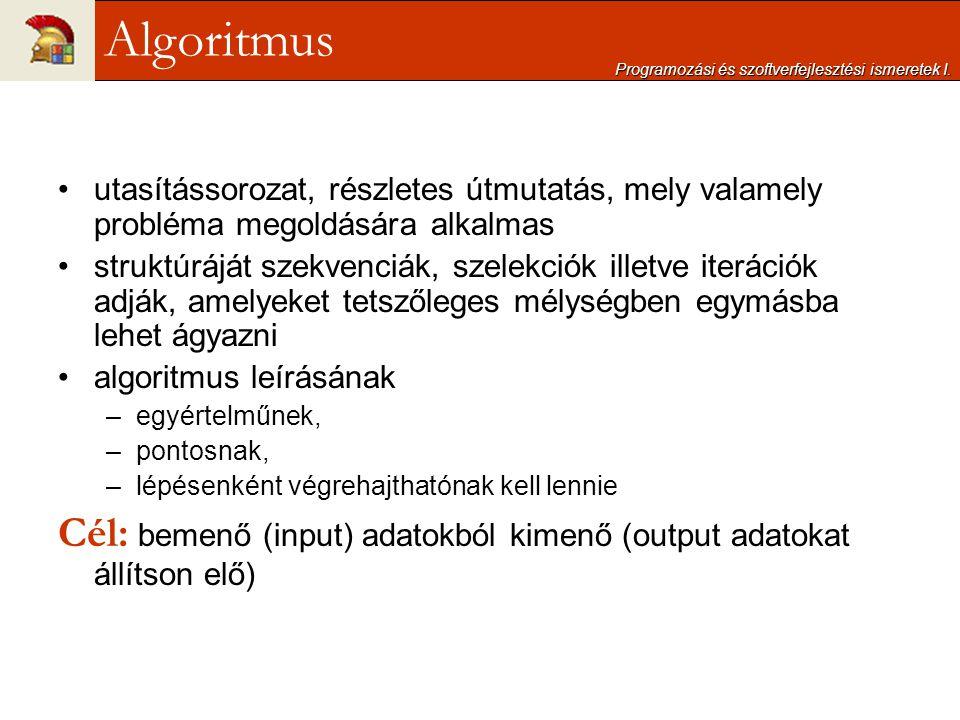 Programozási és szoftverfejlesztési ismeretek I.