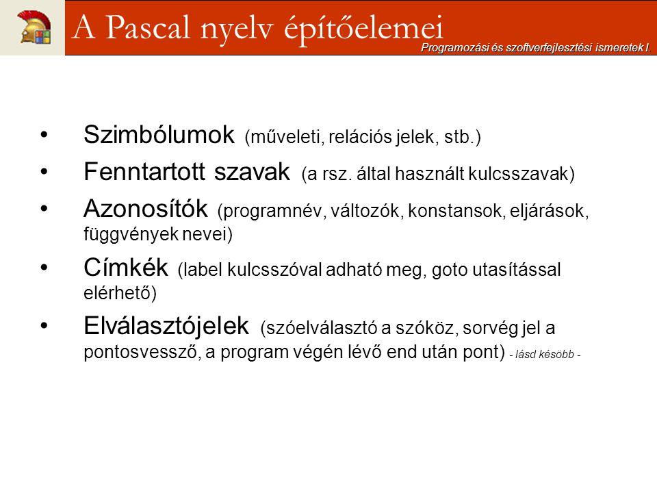 A Pascal nyelv építőelemei