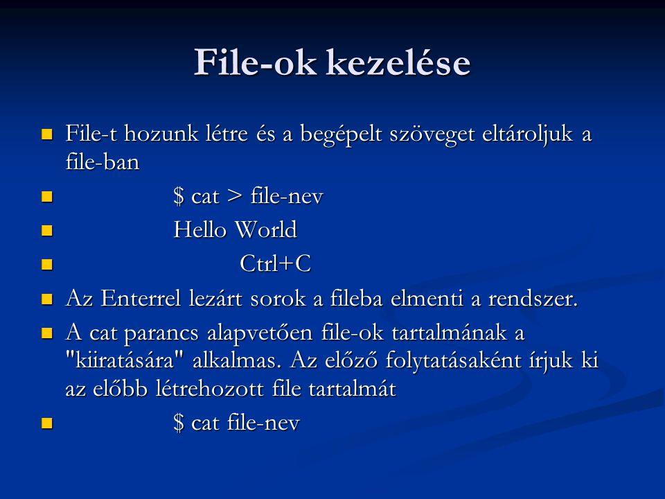 File-ok kezelése File-t hozunk létre és a begépelt szöveget eltároljuk a file-ban. $ cat > file-nev.
