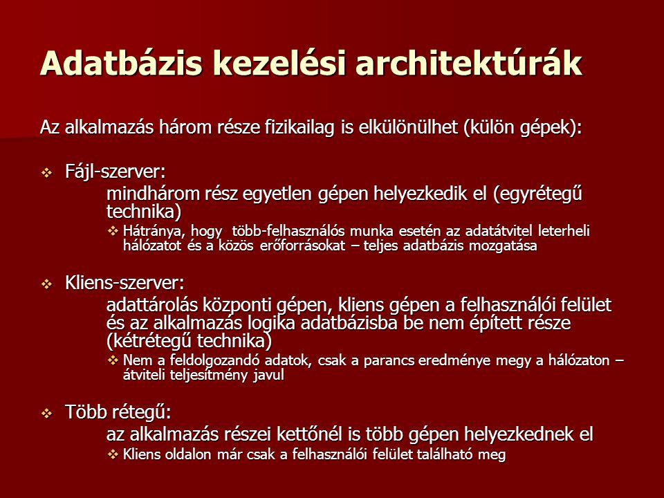 Adatbázis kezelési architektúrák
