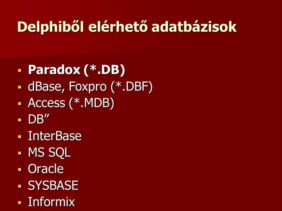 Delphiből elérhető adatbázisok