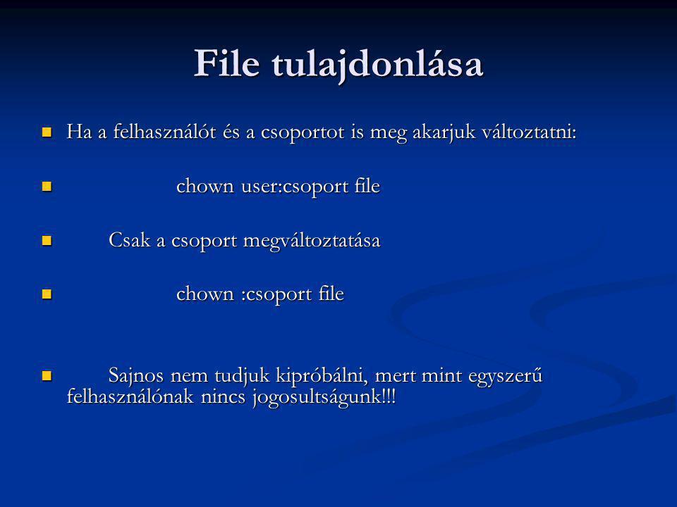 File tulajdonlása Ha a felhasználót és a csoportot is meg akarjuk változtatni: chown user:csoport file.