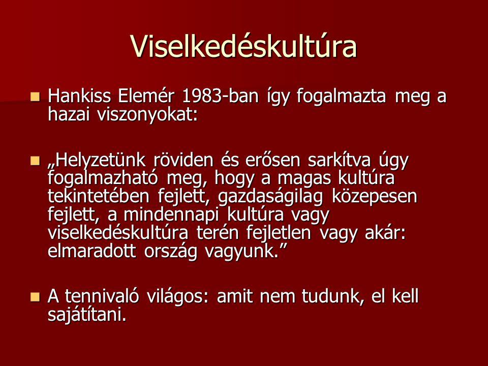 Viselkedéskultúra Hankiss Elemér 1983-ban így fogalmazta meg a hazai viszonyokat: