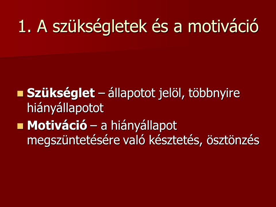 1. A szükségletek és a motiváció