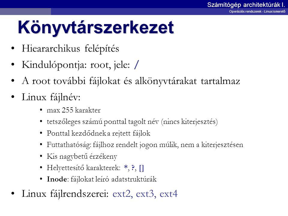 Könyvtárszerkezet Hieararchikus felépítés Kindulópontja: root, jele: /