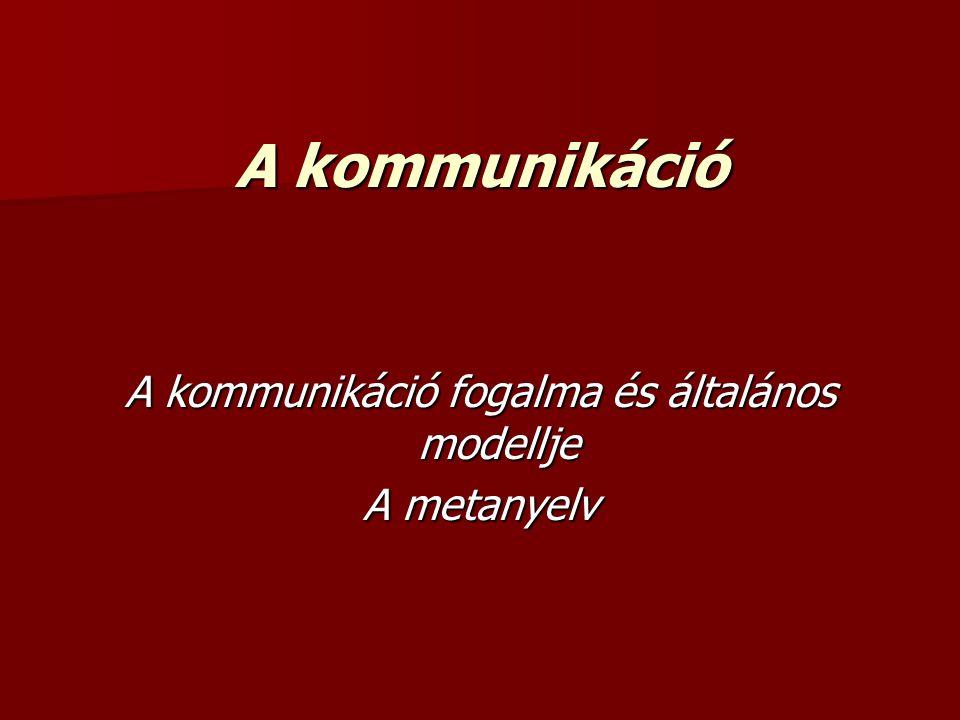 A kommunikáció fogalma és általános modellje