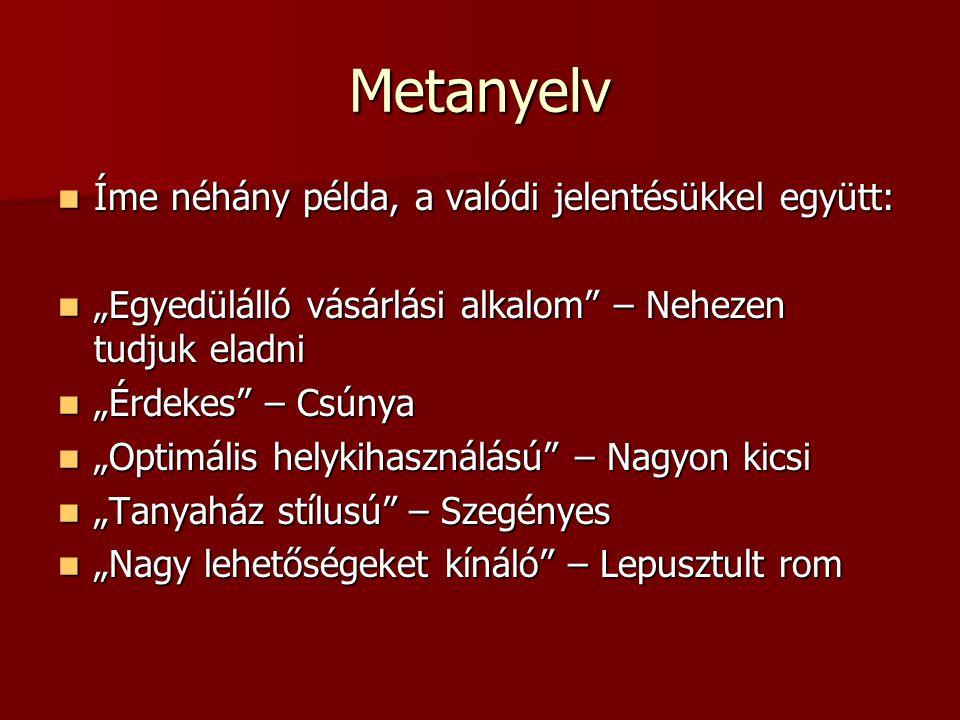 Metanyelv Íme néhány példa, a valódi jelentésükkel együtt: