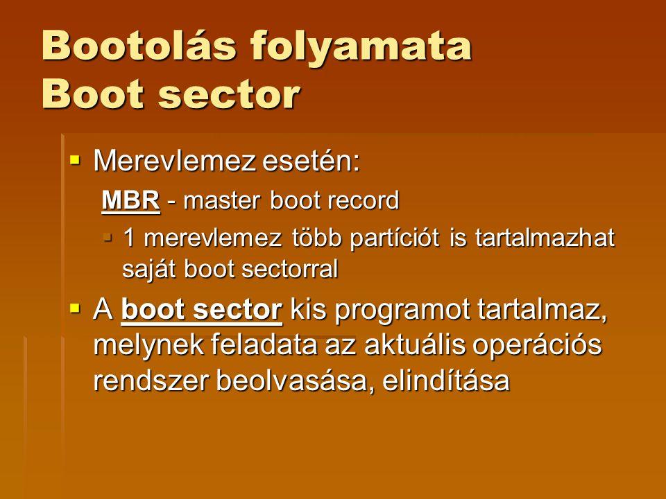 Bootolás folyamata Boot sector