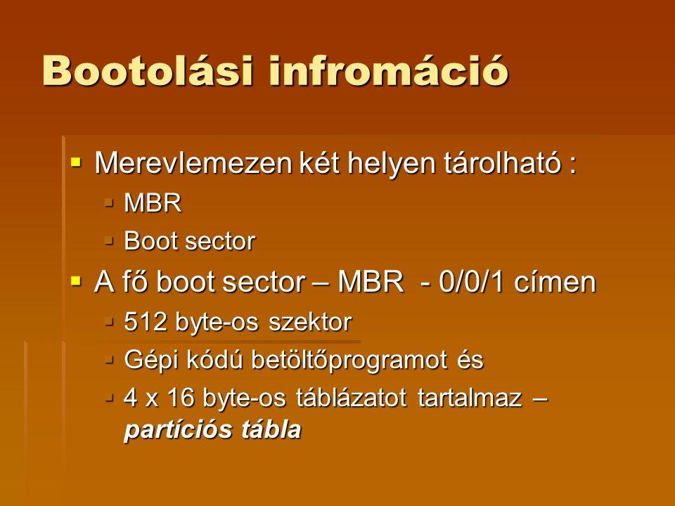 Bootolási infromáció Merevlemezen két helyen tárolható :
