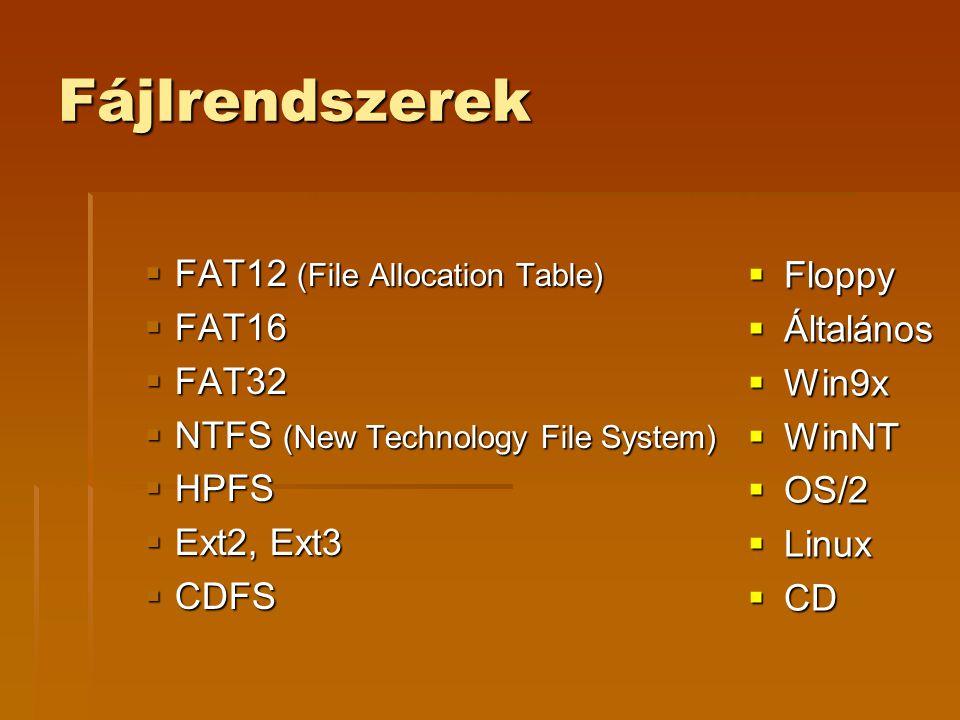 Fájlrendszerek FAT12 (File Allocation Table) Floppy FAT16 Általános