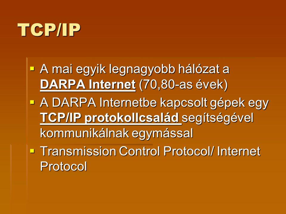 TCP/IP A mai egyik legnagyobb hálózat a DARPA Internet (70,80-as évek)