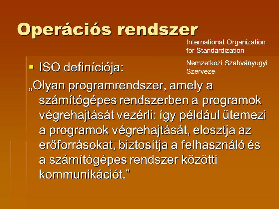 Operációs rendszer ISO definíciója:
