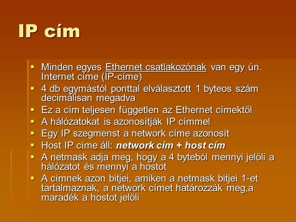 IP cím Minden egyes Ethernet csatlakozónak van egy ún. Internet címe (IP-címe) 4 db egymástól ponttal elválasztott 1 byteos szám decimálisan megadva.