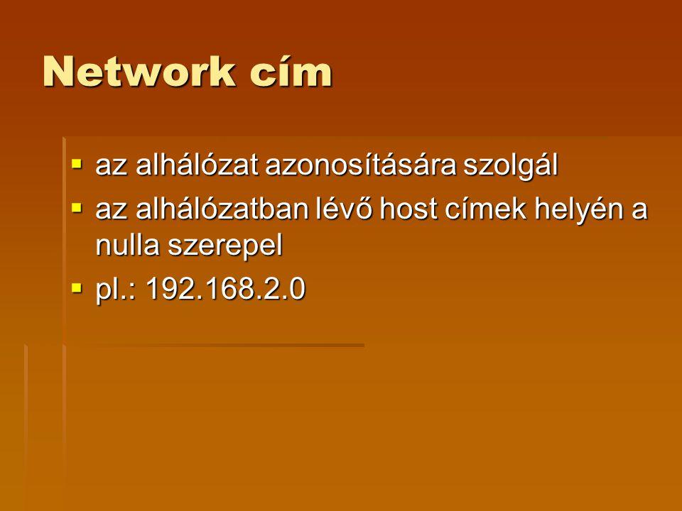 Network cím az alhálózat azonosítására szolgál