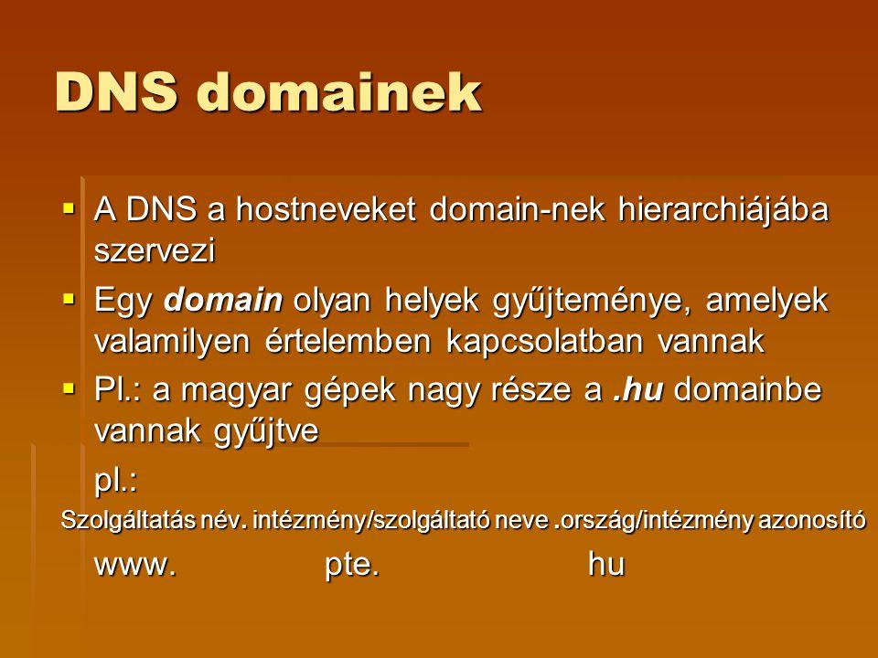 DNS domainek A DNS a hostneveket domain-nek hierarchiájába szervezi