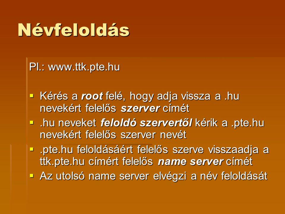 Névfeloldás Pl.: www.ttk.pte.hu