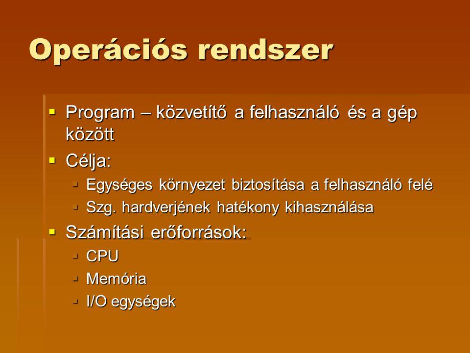 Operációs rendszer Program – közvetítő a felhasználó és a gép között