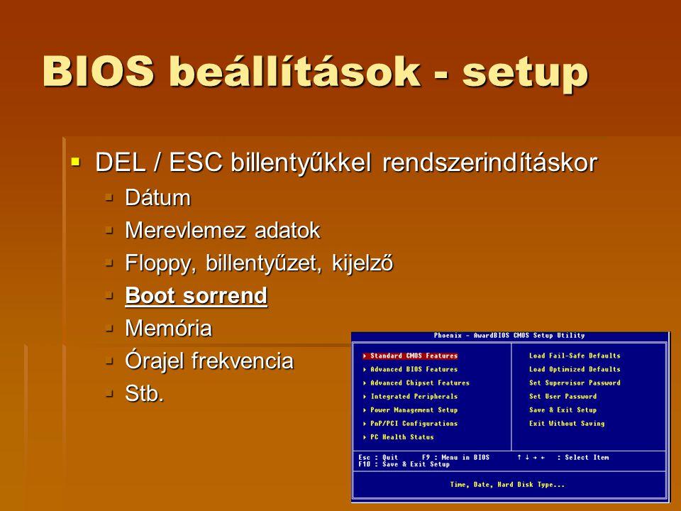 BIOS beállítások - setup
