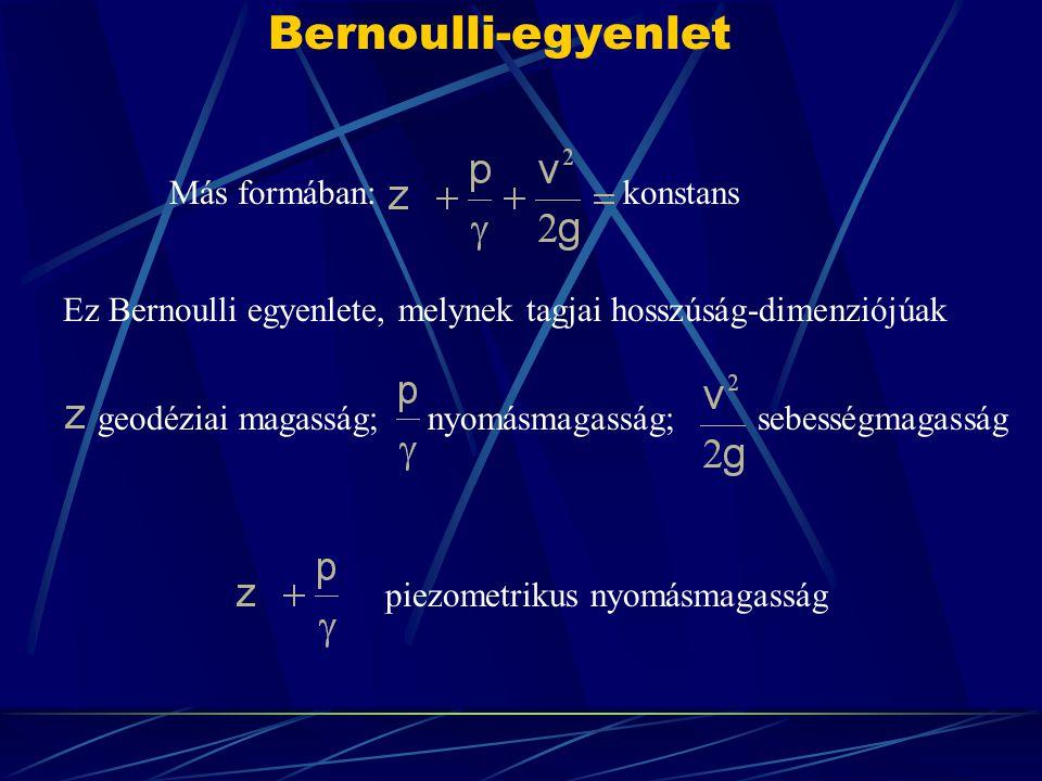 Bernoulli-egyenlet Más formában: konstans